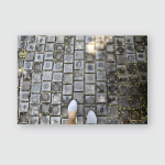 Woman Walking On Cobble Stone Tiled Poster, Pillow Case, Tumbler, Sticker, Ornament