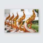 King Naga Statutes Thai Temple Poster, Pillow Case, Tumbler, Sticker, Ornament