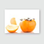 Persimmon On White Background Orange Front Poster, Pillow Case, Tumbler, Sticker, Ornament