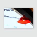 Kitchen Interior Restaurant Big Red Lamp Poster, Pillow Case, Tumbler, Sticker, Ornament