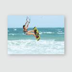 Kite Surfer Rides Waves Poster, Pillow Case, Tumbler, Sticker, Ornament