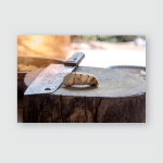 Knife Placed On Wooden Cutting Board Poster, Pillow Case, Tumbler, Sticker, Ornament