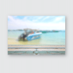 Wood Table Top Blurred Boat Beach Poster, Pillow Case, Tumbler, Sticker, Ornament