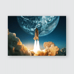 Spaceship Takes Off Into Sky Planet Poster, Pillow Case, Tumbler, Sticker, Ornament