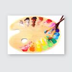 Wooden Art Palette Blobs Paint Brush Poster, Pillow Case, Tumbler, Sticker, Ornament