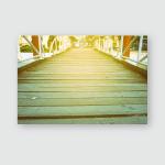 Wooden Bridge Background Light Leaks Poster, Pillow Case, Tumbler, Sticker, Ornament