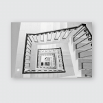 Spiral Square Stairs Viewed Above Poster, Pillow Case, Tumbler, Sticker, Ornament