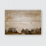 Wooden Christmas Garland On Board Background Poster, Pillow Case, Tumbler, Sticker, Ornament