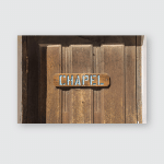 Wooden Chapel Church Sign On Wood Poster, Pillow Case, Tumbler, Sticker, Ornament