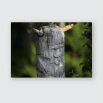 Wooden Sculpture God Face On Totem Poster, Pillow Case, Tumbler, Sticker, Ornament