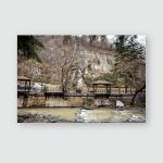 Spring Cityscape Borjomi Foreground Muddy River Poster, Pillow Case, Tumbler, Sticker, Ornament