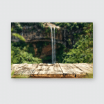 Wooden Table On Background Waterfall Summer Poster, Pillow Case, Tumbler, Sticker, Ornament