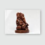 Wooden Statue Hindu God Ganesha White Poster, Pillow Case, Tumbler, Sticker, Ornament