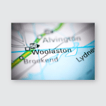 Woolaston United Kingdom On Geography Map Poster, Pillow Case, Tumbler, Sticker, Ornament