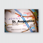 St Augustine Florida Usa On Map Poster, Pillow Case, Tumbler, Sticker, Ornament
