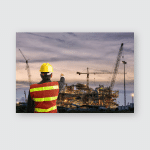 Worker Man Watching Some Details On Poster, Pillow Case, Tumbler, Sticker, Ornament