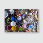 Workplace Painter Brush Hand Jars Gouache Poster, Pillow Case, Tumbler, Sticker, Ornament