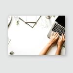 Workspace Laptop Girls Hands Notebook Sketchbook Poster, Pillow Case, Tumbler, Sticker, Ornament