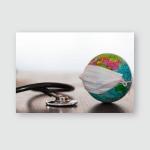 World Globe Medical Face Mask Stethoscope Poster, Pillow Case, Tumbler, Sticker, Ornament