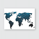 World Map 3D Perspective Side View Poster, Pillow Case, Tumbler, Sticker, Ornament