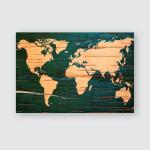 World Map On Birch Cork Natural Poster, Pillow Case, Tumbler, Sticker, Ornament