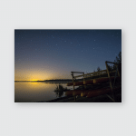 Starry Night Sky Seen Lake Shore Poster, Pillow Case, Tumbler, Sticker, Ornament