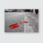 Wrecked Car Parts On Roadway After Poster, Pillow Case, Tumbler, Sticker, Ornament