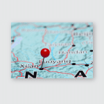 Xian Pinned On Map Asia Poster, Pillow Case, Tumbler, Sticker, Ornament