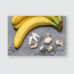 Yellow Bananas Seashells On Gray Backdrop Poster, Pillow Case, Tumbler, Sticker, Ornament
