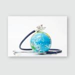 Stethoscope Wrapped Around Globe On White Poster, Pillow Case, Tumbler, Sticker, Ornament