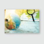 Still Globe Magnifier Map Backround Poster, Pillow Case, Tumbler, Sticker, Ornament