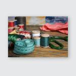 Still Life Spools Thread On Wooden Poster, Pillow Case, Tumbler, Sticker, Ornament