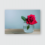 Still Life Red Rose On Wooden Poster, Pillow Case, Tumbler, Sticker, Ornament