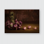 Still Life Onion On Rustic Wooden Poster, Pillow Case, Tumbler, Sticker, Ornament