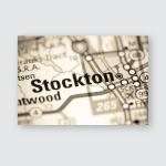 Stockton California Usa On Map Poster, Pillow Case, Tumbler, Sticker, Ornament