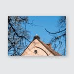 Stork Nest On Roof Building Poster, Pillow Case, Tumbler, Sticker, Ornament