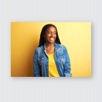 Young African American Woman Wearing Denim Poster, Pillow Case, Tumbler, Sticker, Ornament