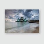 Strait Mosque Malacca Illuminated Green Light Poster, Pillow Case, Tumbler, Sticker, Ornament