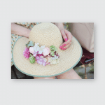 Straw Hat Flowers Lying On Knees Poster, Pillow Case, Tumbler, Sticker, Ornament