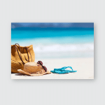 Straw Hat Bag Sun Glasses Flip Poster, Pillow Case, Tumbler, Sticker, Ornament