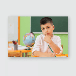 Young Boy Looking Camera Seriously While Poster, Pillow Case, Tumbler, Sticker, Ornament