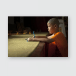 Young Buddhist Monks Doing School Work Poster, Pillow Case, Tumbler, Sticker, Ornament