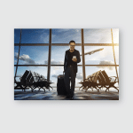 Young Business Man Airport Using Smartphone Poster, Pillow Case, Tumbler, Sticker, Ornament
