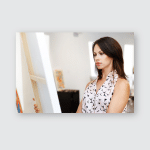 Young Caucasian Woman Standing Art Gallery Poster, Pillow Case, Tumbler, Sticker, Ornament