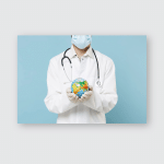Young Confident Doctor Man Medical Gown Poster, Pillow Case, Tumbler, Sticker, Ornament