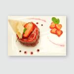 Strawberry Tart Fine Dining Food International Poster, Pillow Case, Tumbler, Sticker, Ornament