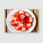 Strawberry Cake Plate On Wooden Floor Poster, Pillow Case, Tumbler, Sticker, Ornament