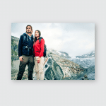 Young Couple Hiking Swiss Alps Poster, Pillow Case, Tumbler, Sticker, Ornament