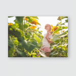 Young Girl Enjoying Nature On Field Poster, Pillow Case, Tumbler, Sticker, Ornament