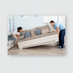 Young Happy Couple Placing Sofa Together Poster, Pillow Case, Tumbler, Sticker, Ornament